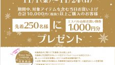 11/1(金)~11/24(木) 冬までもうすぐ。ウィンターアイテムキャンペーン開催!